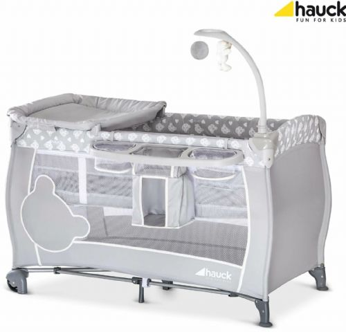 Brand New Hauck Babycentre Playpen Travel cot+Toy bar+Changer in Teddy Bear Grey